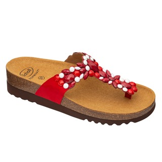 ALICIA FLIP-FLOP - červené / biele zdravotné papuče