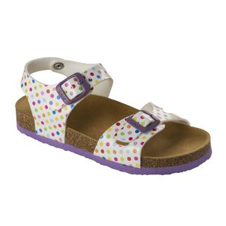 SMILEY KID - biele / farebné detské zdravotné papuče s pásikom