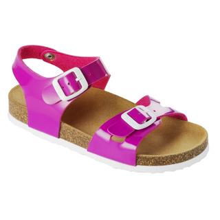 SMILEY KID - ružové detské zdravotné papuče s pásikom