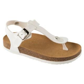 BOA VISTA KID biele detské zdravotné papuče s pásikom