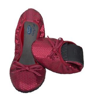 Pocket Ballerina Paillettes - červené balerínky