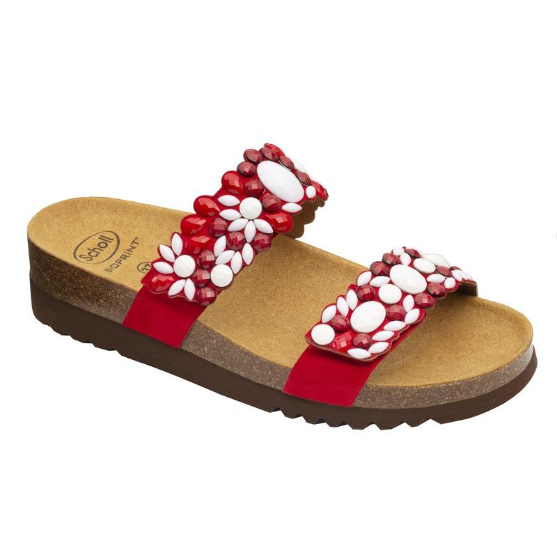 Scholl ALICIA 2 STRAPS - červené / biele zdravotné papuče