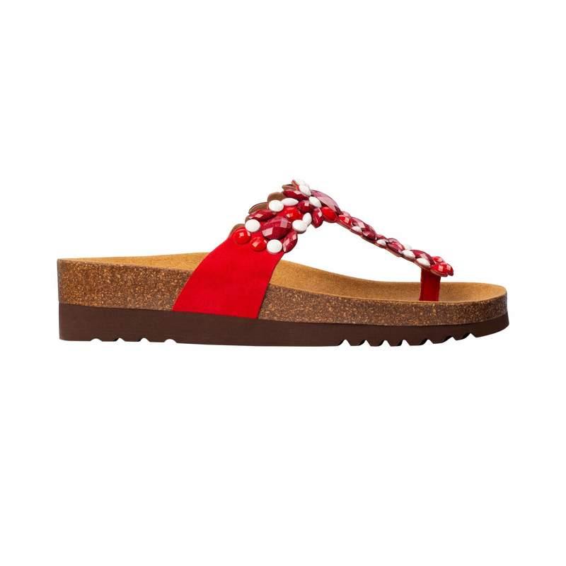 Scholl ALICIA FLIP-FLOP - červené / biele zdravotné papuče