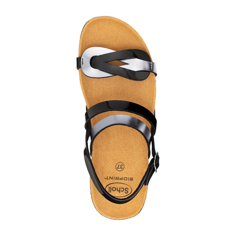 Scholl SOFIA SANDAL čierno cínové zdravotné sandále