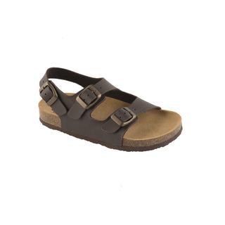 AIR BAG KID - tmavo hnedé detské zdravotné papuče s pásikom