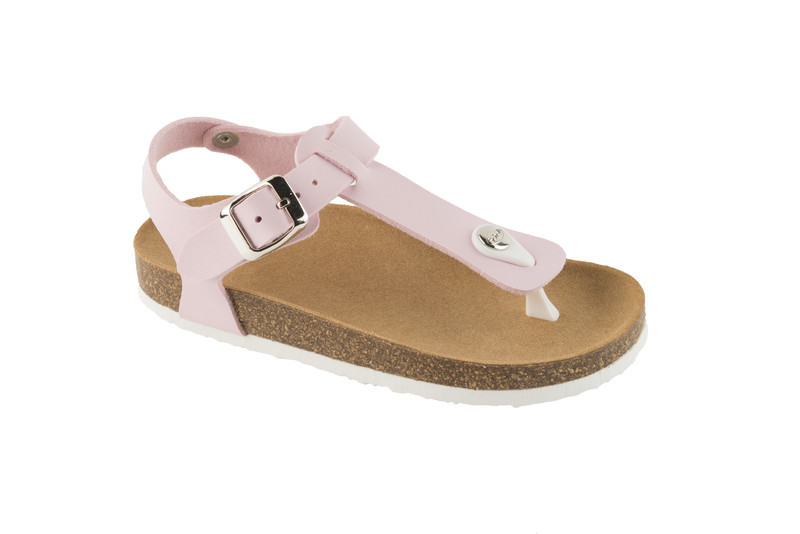 Scholl BOA VISTA KID ružové detské zdravotné papuče s pásikom