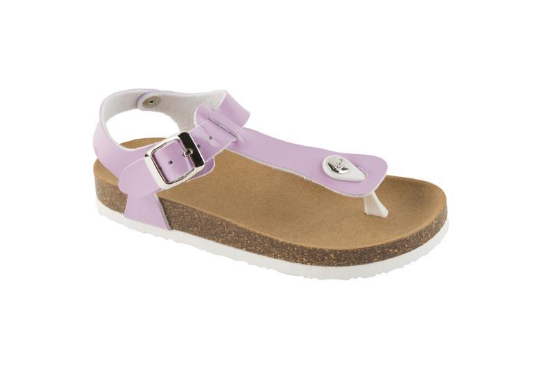 Scholl BOA VISTA KID fialové detské zdravotné papuče s pásikom