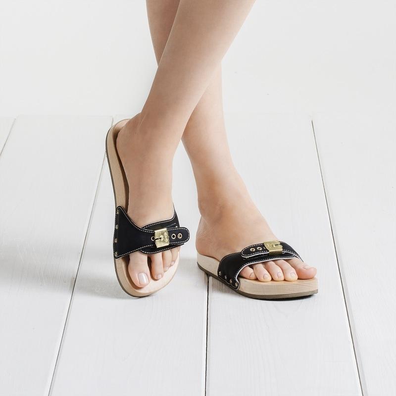 Scholl PESCURA FLAT ŠPORTY čierne zdravotné papuče