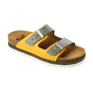 OLYMP sivé / okrovej zdravotné papuče