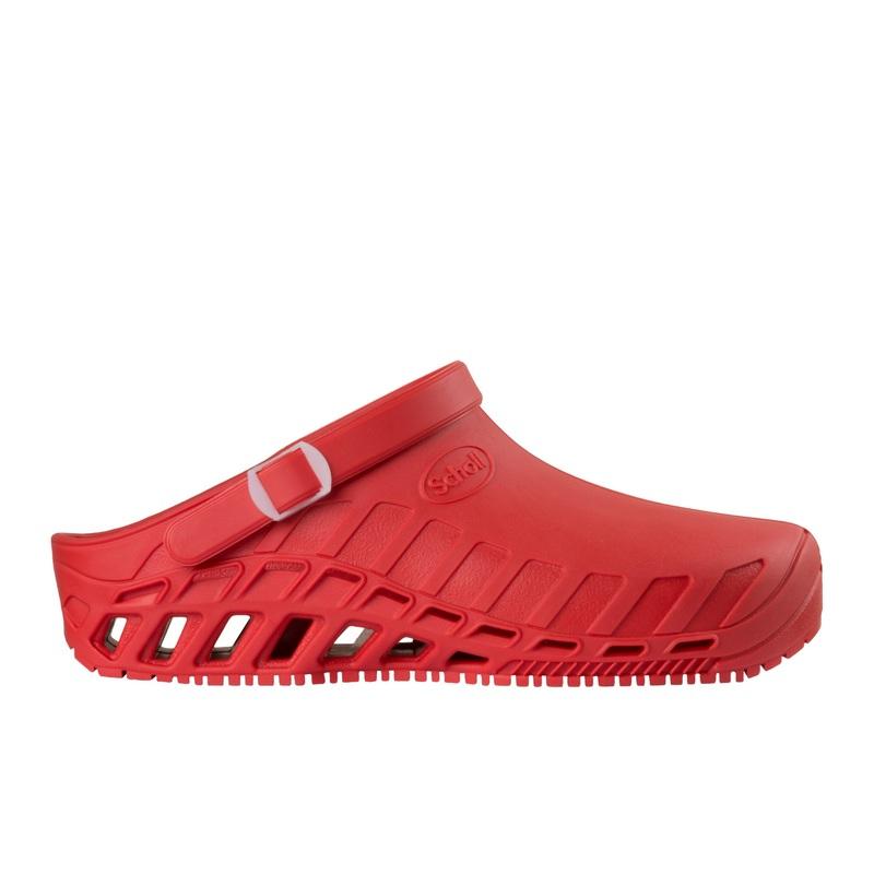 Scholl Clog EVO červená pracovná obuv